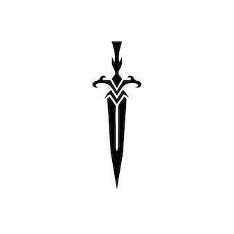 Pugnale simbolo logo tatuaggio design stencil illustrazione vettoriale