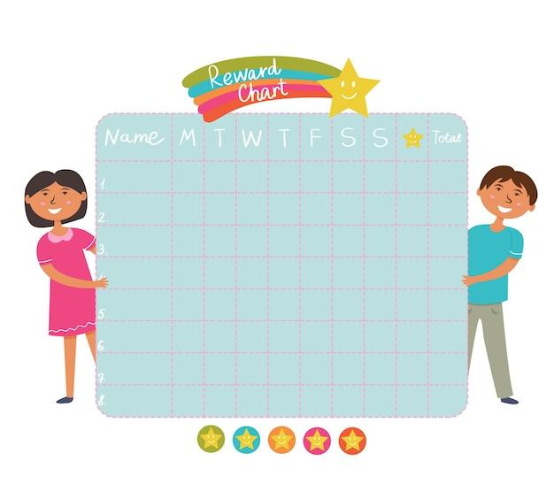 Tabella delle ricompense degli adesivi della routine serale quotidiana asterischi dei bambini del consiglio scolastico