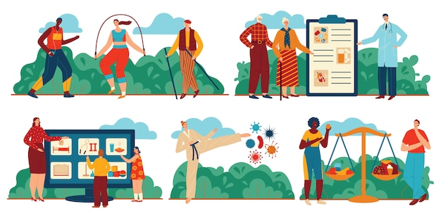 Insieme quotidiano dell'illustrazione di sanità, gente del fumetto che fa gli esercizi di sport, che mangia cibo sano, regime sanitario quotidiano