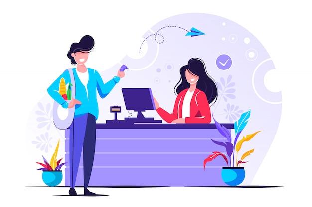 Vita quotidiana, un cassiere e un cliente che acquistano generi alimentari