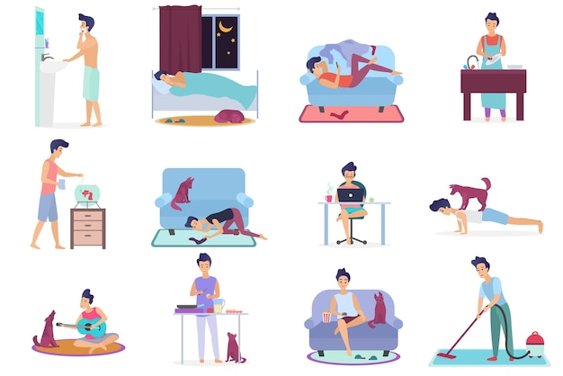 Vita quotidiana, scene di routine quotidiana del set di un giovane