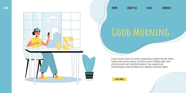 Routine di vita quotidiana, attività quotidiana. giovane donna che gode della sana colazione fitness networking social media utilizzando smartphone sedersi a casa cucina mattina buongiorno modello di pagina di destinazione