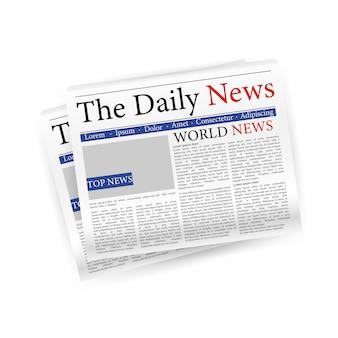 Giornale quotidiano di notizie in carta tagliata. spazio vuoto. illustrazione.