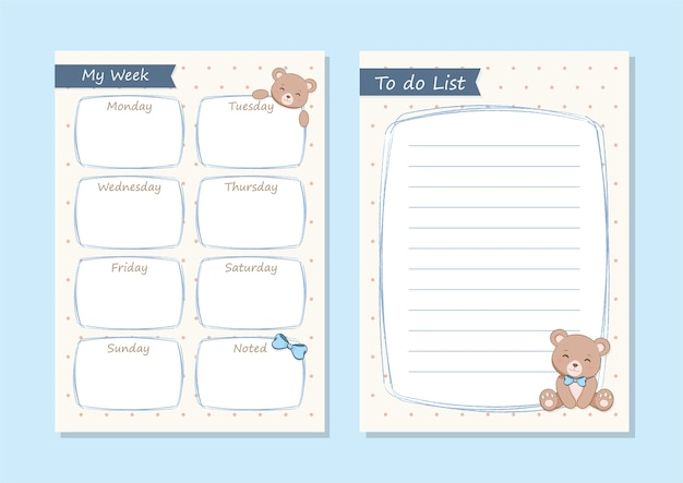 Agenda giornaliera e lista delle cose da fare. orso carino