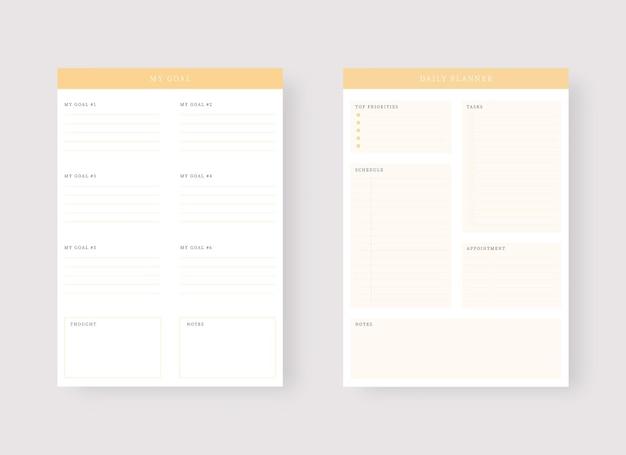 Modello di pianificatore giornaliero set di pianificatore e lista delle cose da fare