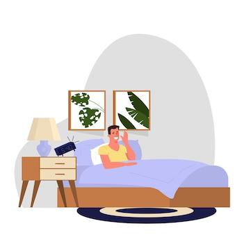 Routine quotidiana di un uomo. ragazzo che si sveglia la mattina. programma dell'uomo d'affari, stile di vita moderno. illustrazione in stile cartone animato