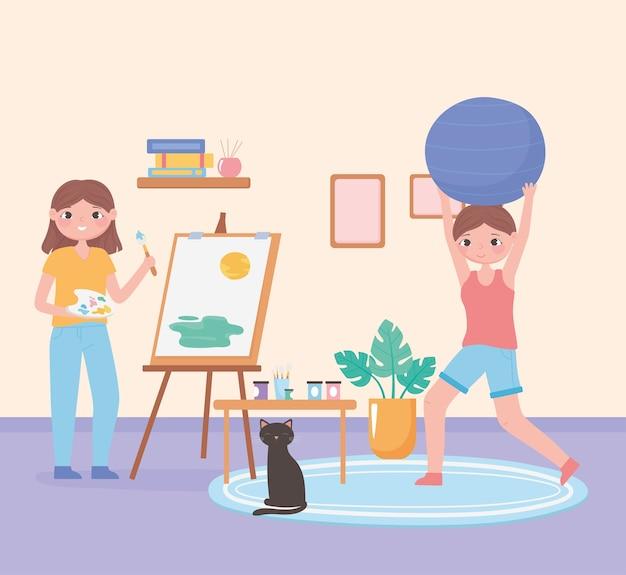 Scena di routine quotidiana, ragazza che dipinge su tela e donna che pratica esercizio nell'illustrazione domestica