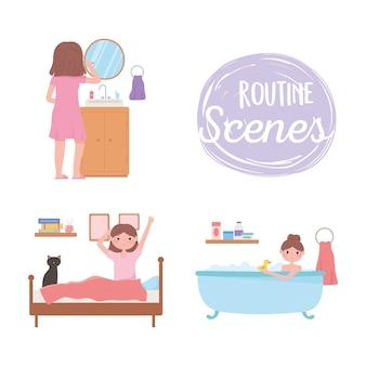 Scena di routine quotidiana, persone che fanno diverse attività al mattino a casa