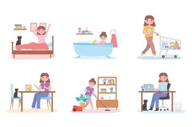 Scena di routine quotidiana con persone che cucinano, fanno il bagno, lavorano e puliscono la casa
