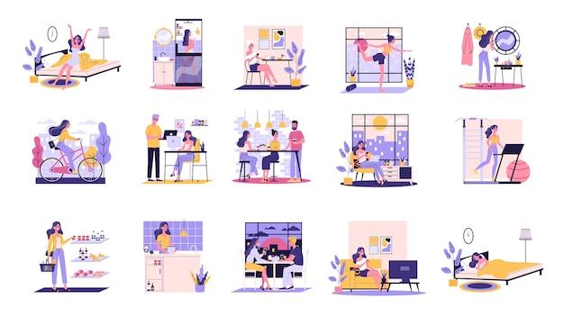 Routine quotidiana di una donna insieme. ragazza che fa colazione al mattino, lavoro e sonno. programma dell'uomo d'affari. lavorando in ufficio sul computer. illustrazione