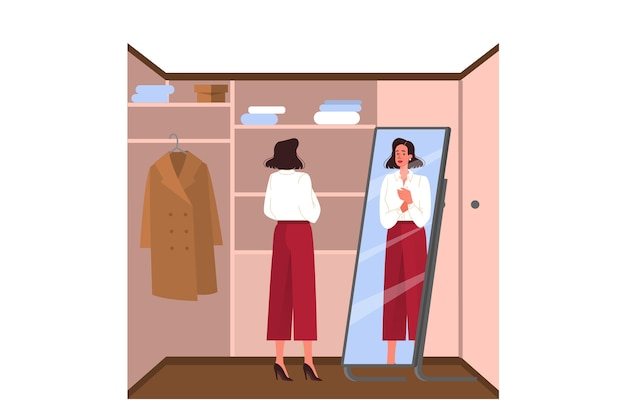 Routine quotidiana di una giovane donna. imprenditrice vestirsi nell'armadio per andare a lavorare. personaggio femminile che indossa la sua camicetta. illustrazione