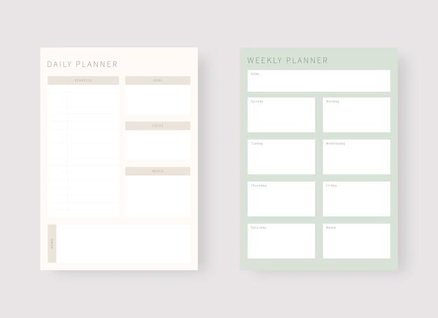 Modello di pianificatore giornaliero e settimanale set di pianificatore e lista di cose da fare set di modelli di pianificatore moderno
