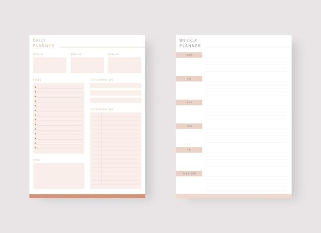 Modello di pianificatore giornaliero e settimanale set di pianificatore e lista delle cose da fare