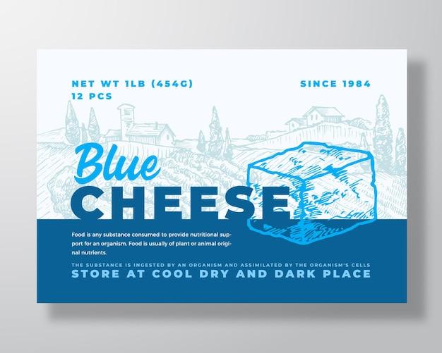 Modello di etichetta per prodotti lattiero-caseari astratto vettore packaging design layout moderno tipografia banner con la mano...