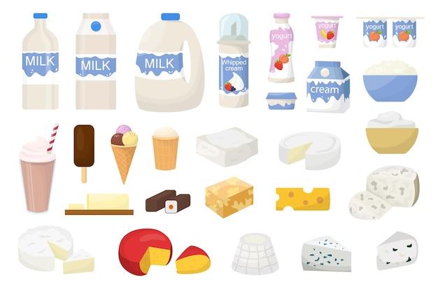 Set di latticini. raccolta del prodotto a base di latte. yogurt e burro