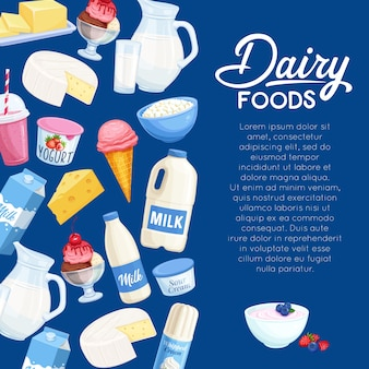 Latticini. pagina modello prodotti della fattoria del latte.