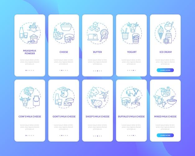 Gradiente blu industria lattiero-casearia sulla schermata della pagina dell'app mobile d'imbarco con concetti impostati.