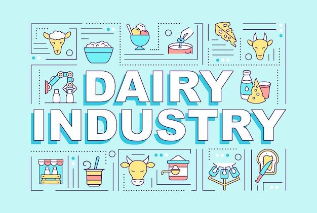 Banner di concetti di parola industria lattiero-casearia