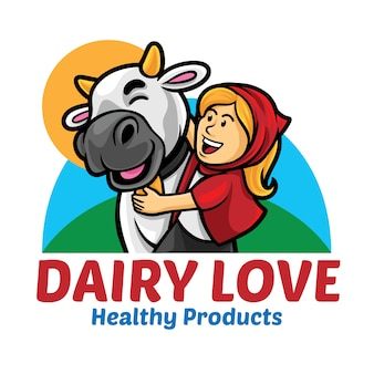 Modello di mascotte logo di dairy love
