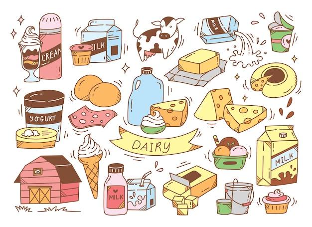 Scarabocchi disegnati a mano di prodotti lattiero-caseari