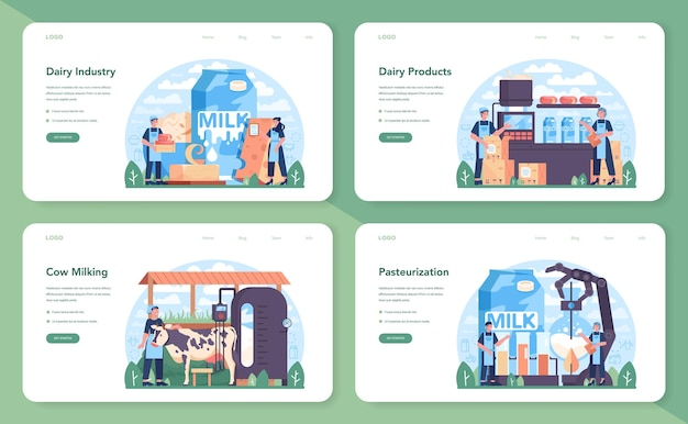 Banner web per l'industria lattiero-casearia o set di pagine di destinazione. prodotto lattiero-caseario naturale per la colazione. mungitura delle vacche, pastorizzazione latticini, fermentazione e produzione di latte, formaggi, burro. illustrazione vettoriale piatta