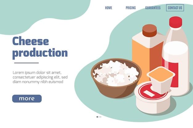 Produzione lattiero-casearia isometrica per la pagina di destinazione del sito web