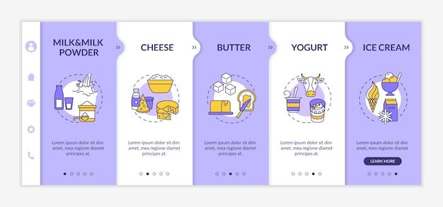 Modello di onboarding di prodotti lattiero-caseari. alimento biologico a base di latte.