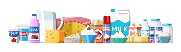 Set di prodotti lattiero-caseari. raccolta di alimenti a base di latte.