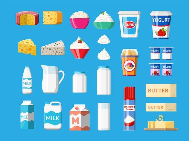 Set di prodotti lattiero-caseari isolato sull'azzurro