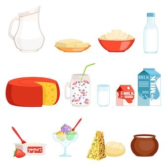 Set di prodotti lattiero-caseari, latte, burro, formaggio, yogurt, panna acida, illustrazioni di gelato