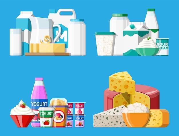 Set di prodotti lattiero-caseari. latte, formaggio, yogurt, burro, panna acida, ricotta, panna