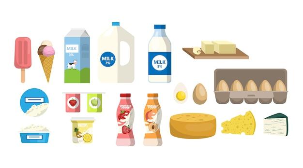 Set di prodotti lattiero-caseari. latte e uova, formaggio e yogurt.