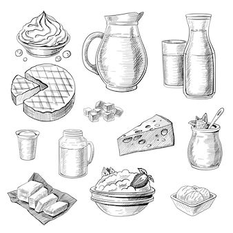 Set di schizzi di prodotti lattiero-caseari