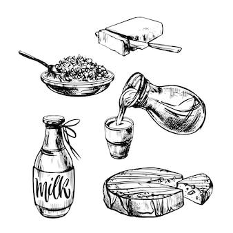 Set di vettori di prodotti lattiero-caseari in stile grafico alimenti agricoli latte formaggio burro cagliata