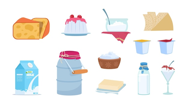 Latticini. contenitori di latte bianco, fette di formaggio, brick di burro, ciotole di yogurt e gelato. insieme di vettore isolato illustrazione dei prodotti lattiero-caseari dei cartoni animati