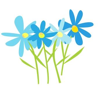 Margherite margherite forgetmenots su uno sfondo bianco bouquet per cartoline e saluti