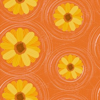 Fiori di margherite motivo floreale senza soluzione di continuità su sfondo arancione