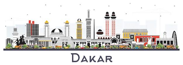 Dakar senegal skyline della città con edifici di colore isolato su bianco. paesaggio urbano di dakar con punti di riferimento.