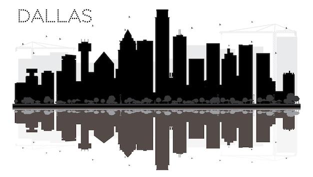Siluetta in bianco e nero dell'orizzonte di dallas city con le riflessioni. illustrazione vettoriale. semplice concetto piatto per presentazione turistica, banner, cartellone o sito web. paesaggio urbano con punti di riferimento.