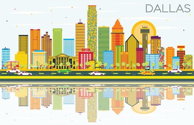 Skyline di dallas con edifici di colore, cielo blu e riflessi. illustrazione di vettore. viaggi d'affari e concetto di turismo con edifici moderni. immagine per presentazione banner cartellone e sito web.