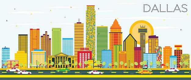 Skyline di dallas con edifici di colore e cielo blu. illustrazione di vettore. viaggi d'affari e concetto di turismo con edifici moderni. immagine per presentazione banner cartellone e sito web.