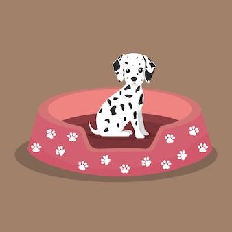 Dalmata cucciolo impronta letto rosa