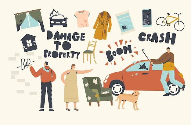 Danni al concetto di proprietà. saccheggiatori che dipingono muri, si schiantano sul finestrino dell'auto per divertimento, donna arrabbiata sgrida il cane per il disordine in camera. comportamento aggressivo di personaggi maschili o femminili. cartoon persone illustrazione vettoriale