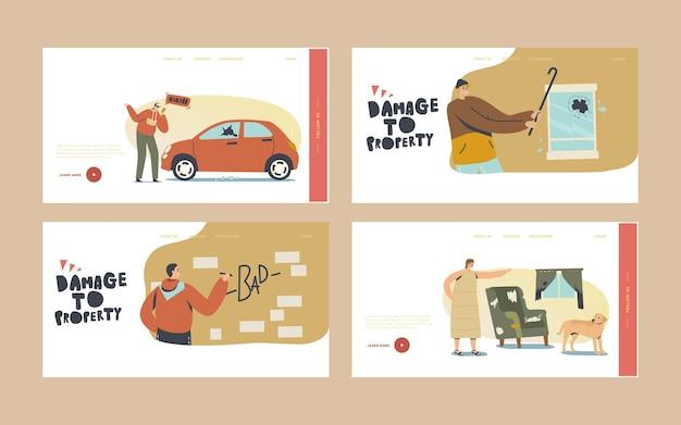 Danni al set di modelli di pagina di destinazione della proprietà. saccheggiatori che dipingono muri, auto che si schiantano per divertimento, donna arrabbiata che sgrida il cane per il disordine in camera. personaggi comportamento aggressivo. cartoon persone illustrazione vettoriale
