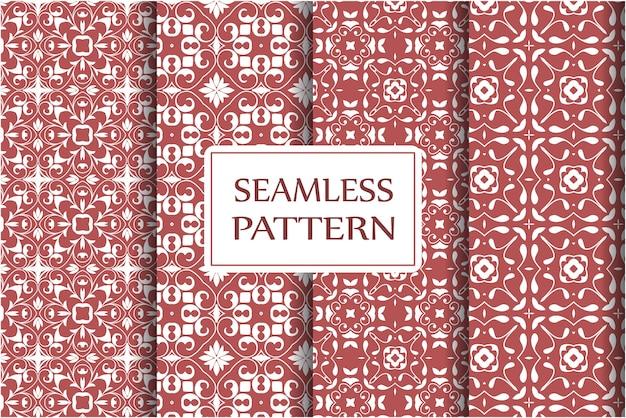 Elementi barocchi floreali damascati con set di pattern