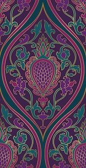 Motivo damascato. ornamento in filigrana viola e verde.