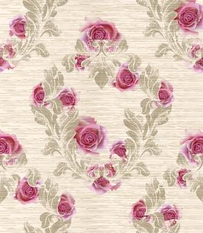 Motivo damascato con fiori di rosa