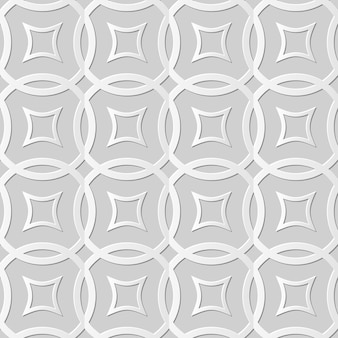Damask seamless pattern 3d paper art round cross line