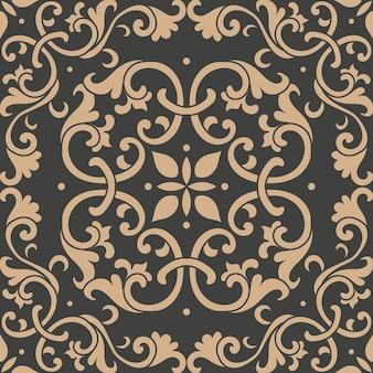 Damasco seamless pattern retrò sfondo giardino botanico curva a spirale croce cornice foglia vite caleidoscopio di fiori.