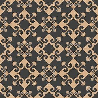 Damasco seamless pattern retrò sfondo curva freccia geometria croce caleidoscopio.